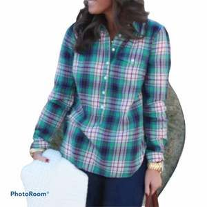 J. Crew Plaid Popover Buttons 3/4 Down Small